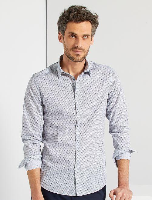 Camisa fitted de popelina de lunares                                                                 AZUL