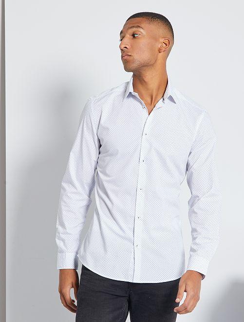 Camisa fitted de popelina de lunares                                                                 BLANCO