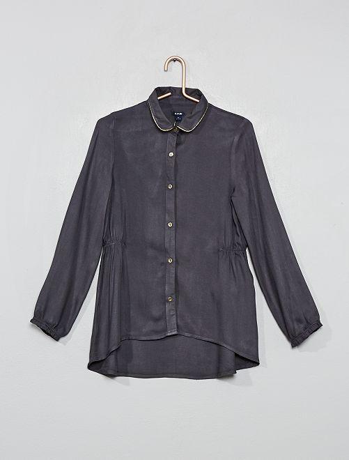 Camisa larga efecto espigas                                         gris
