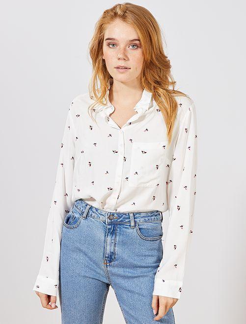 Camisa larga estilo túnica                                                                             BLANCO