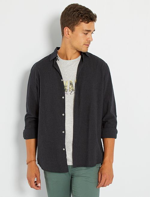 Camisa ligera de algodón                                                                                         negro