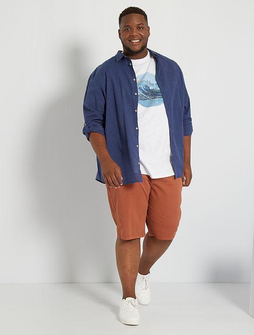 Camisa ligera de algodón puro                                                                 AZUL