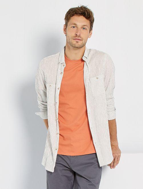 Camisa ligera de rayas                             BLANCO