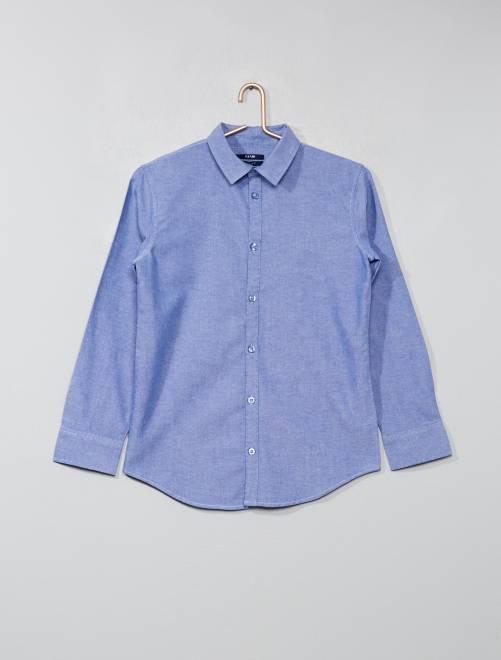 Camisa lisa de algodón puro                                                                 azul oscuro Joven niño