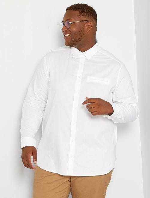Camisa lisa de algodón puro                                                                 blanco