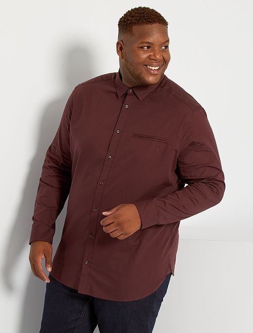 Camisa lisa de algodón puro                                                                 castaño ciruela