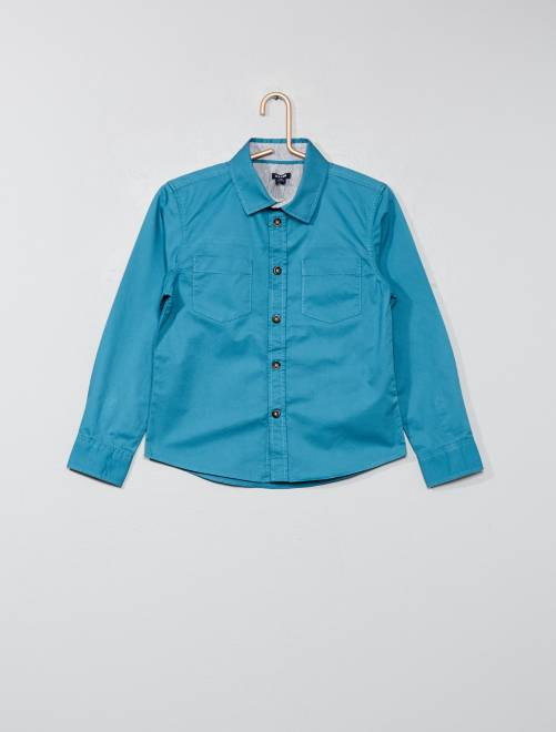 Camisa lisa de sarga                                         azul Chico