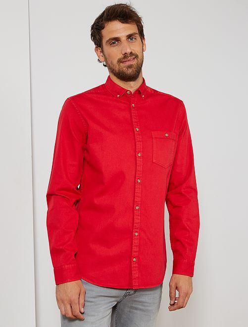 Camisa lisa de sarga                                         rojo