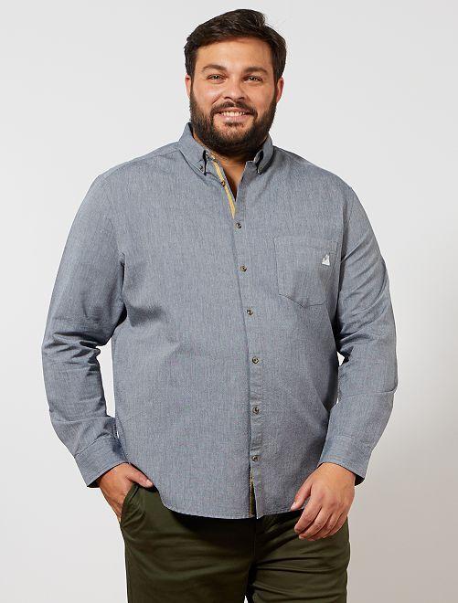 Camisa Oxford con bolsillo bordado                                                                 AZUL Tallas grandes hombre