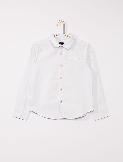 Camisa oxford de manga larga                                         azul gris