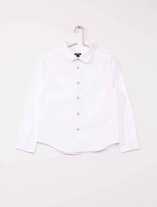 Camisa oxford de manga larga                                         blanco