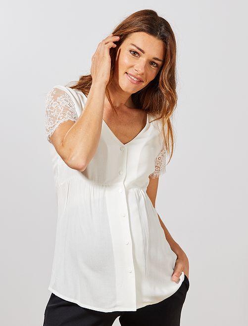Camisa premamá con mangas de encaje                                         blanco nieve