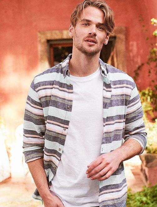 Camisa recta a rayas de lino y algodón                                                                 multicolor Hombre