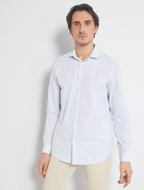 Camisa recta con cuello italiano                                                                             BLANCO