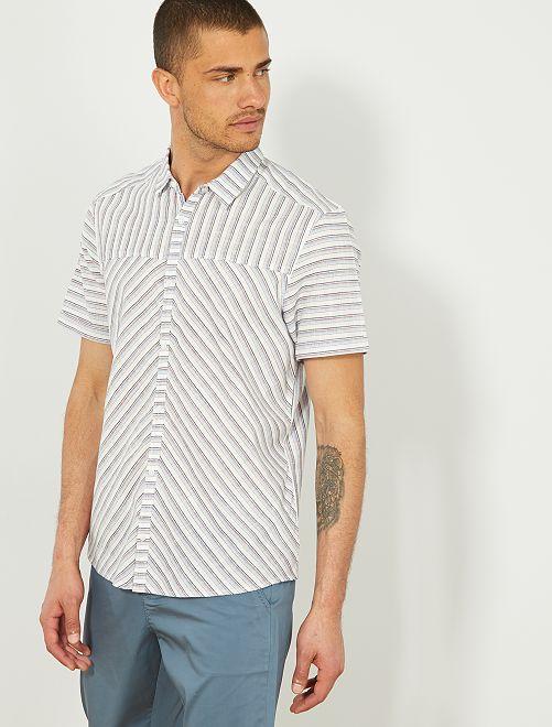 Camisa recta con juego de rayas                             BLANCO Hombre