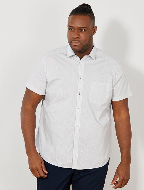 Camisa recta con micromotivo                             BLANCO Tallas grandes hombre