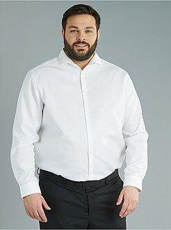Camisa recta de algodón de fantasía de planchado fácil - Kiabi