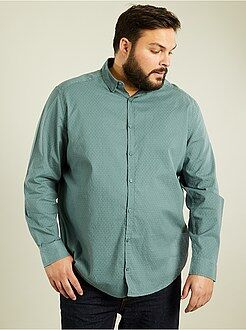 Camisa recta de algodón dobby