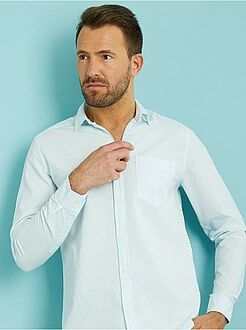 Camisas corte recto - Camisa recta de algodón seersucker