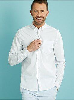 Hombre Camisa recta de algodón seersucker