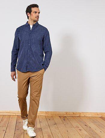 Tallas grandes hombre - Camisa recta de algodón y lino - Kiabi