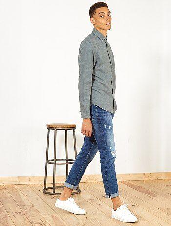 Hombre talla S-XXL - Camisa recta de algodón y lino - Kiabi