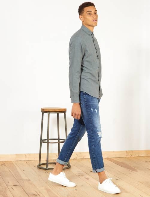 Camisa recta de algodón y lino                     caqui Hombre