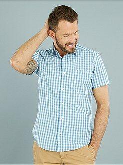 Hombre Camisa recta de manga corta de popelina estampada
