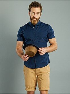 Camisa recta de manga corta de popelina estampada
