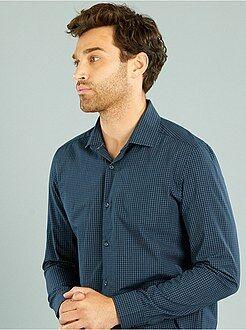 Hombre Camisa recta de popelina a cuadros