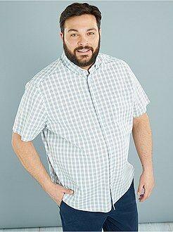 Tallas grandes hombre Camisa recta de popelina estampada