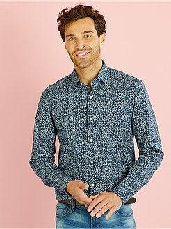 Hombre Camisa recta de popelina estampada de flores