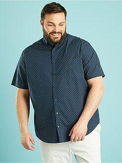 Camisa recta de popelina estampada
