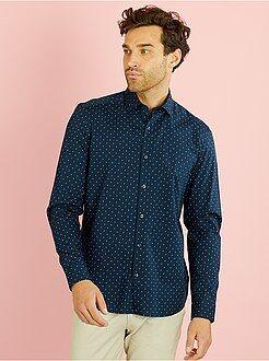 Camisa recta de popelina estampada motivos 'paisley'
