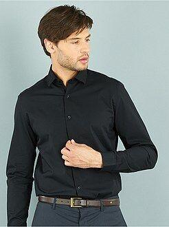 Camisas ciudad - Camisa recta de popelina lisa