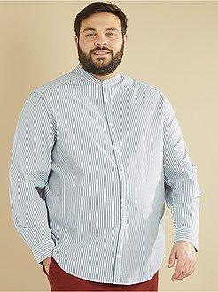 Camisas - Camisa recta de rayas con cuello mao - Kiabi