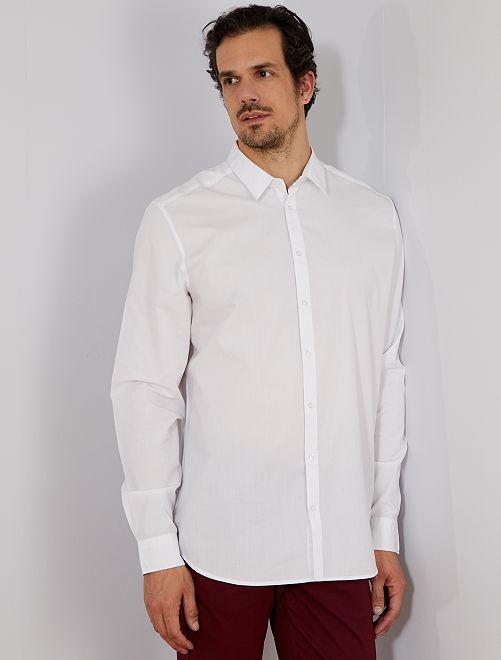 Camisa recta de sarga                                         blanco Hombre de más de 1'90m