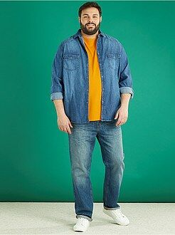 Camisas - Camisa recta en denim desgastado - Kiabi