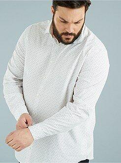 Tallas grandes hombre Camisa recta estampada de popelina