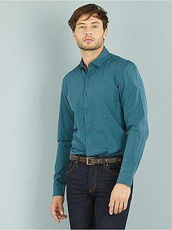 Hombre Camisa recta popelina motivos vichy