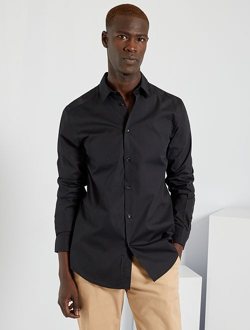 Camisa regular blanca                                         negro