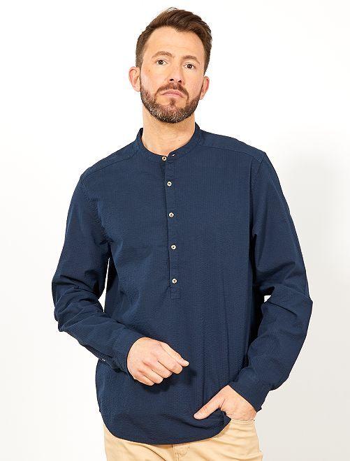 Camisa regular con cuello mao                                         AZUL Hombre