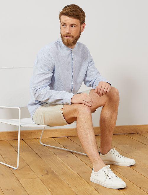 Camisa regular con cuello mao de lino y algodón                             AZUL Hombre