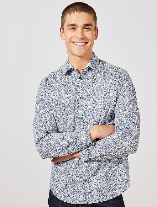 Camisa regular con estampado de 'flores'                             BLANCO Hombre