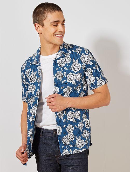 Camisa regular con estampado floral                                         AZUL