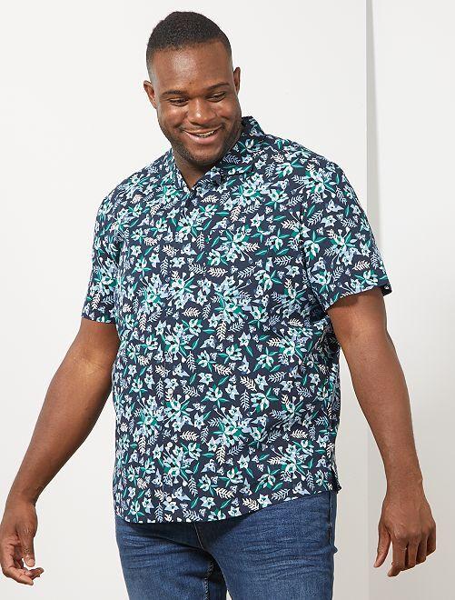 Camisa regular con estampado tropical                             AZUL