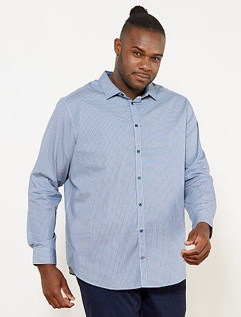 Tallas grandes hombre - Camisa regular con micromotivo - Kiabi