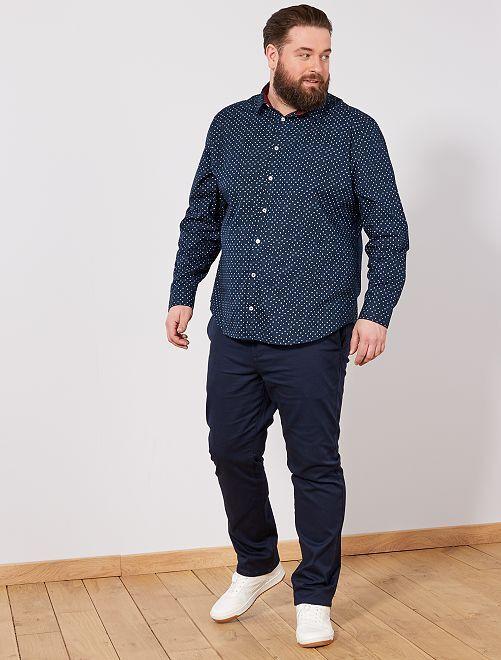 Camisa regular con micromotivo                                         AZUL Tallas grandes hombre
