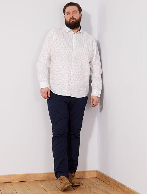 Camisa regular con micromotivo                             BLANCO Tallas grandes hombre