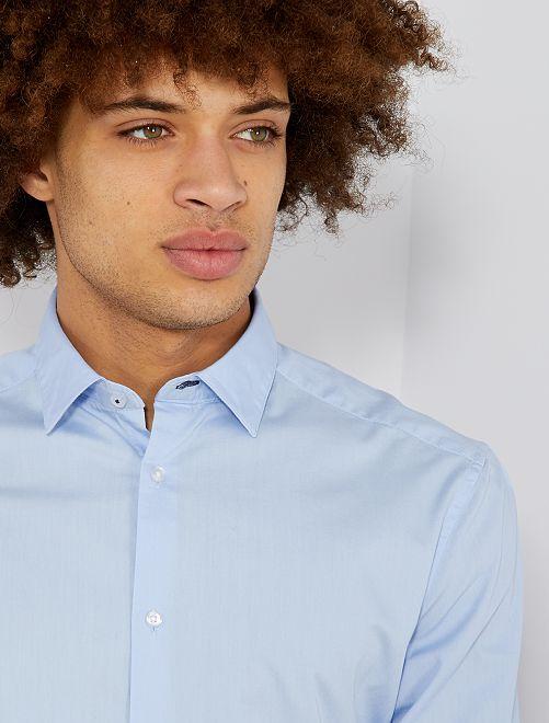 Camisa regular de algodón                                         azul celeste
